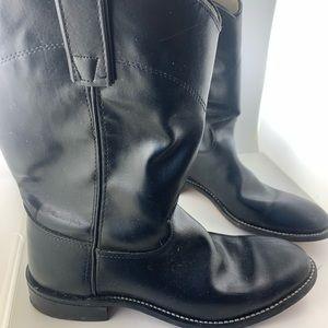 VINTAGE Bronco Western Black Leather Boots